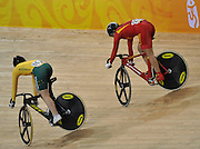 Beijing, CHINA.   Cycling,  CHN, Shuang GUO and AUS Anna MEARES,  Laosham Velodrome, Tuesday - 19/08/2008, [Mandatory Credit: Peter SPURRIER, Intersport Images