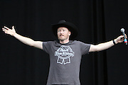 Comedian Conan O'Brien performs during the third day of the 2010 Bonnaroo Music & Arts Festival on June 11, 2010 in Manchester, Tennessee. The four-day music festival features a variety of musical acts, arts and comedians..Photo by Bryan Rinnert/3Sight Photography