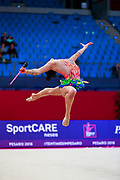 Agagulian Iasmina during qualifying at clubs in Pesaro World Cup at Adriatic Arena on April 14, 2018. Iasmina is an Armenian rhythmic gymnastics athlete born in Yerevan in 2001.