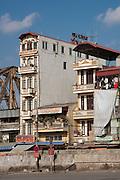 Tube Houses, near Long Bien Bridge Hanoi, Vietnam