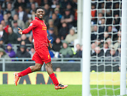 LONDON, ENGLAND - Sunday, May 12, 2013: Liverpool's Daniel Sturridge celebrates scoring the third goal of his hat-trick against Fulham during the Premiership match at Craven Cottage. (Pic by David Rawcliffe/Propaganda)