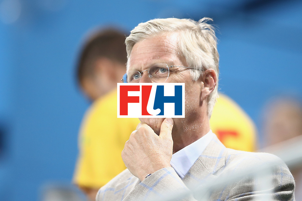 RIO DE JANEIRO, BRAZIL - AUGUST 07:  King Philippe of Belgium watches on during the halftime break of the men's pool A match between Brazil and Belgium on Day 2 of the Rio 2016 Olympic Games at the Olympic Hockey Centre on August 7, 2016 in Rio de Janeiro, Brazil.  (Photo by Mark Kolbe/Getty Images)