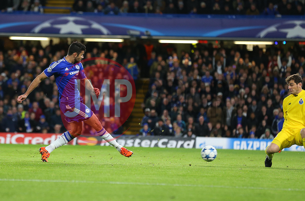 Diego Costa of Chelsea has a shot on goal, which is saved by Iker Casillas of FC Porto but then deflected in by Ivan Marcano ( not pictured ) of FC Porto for an own goal to make it 1-0 - Mandatory byline: Paul Terry/JMP - 09/12/2015 - Football - Stamford Bridge - London, England - Chelsea v FC Porto - Champions League - Group G