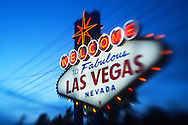 "The world famous ""Welcome to Fabulous Las Vegas Nevada"" sign located on the south end of the Las Vegas strip."