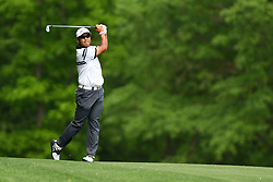 May 3, 2019 - Charlotte, NC, U.S. - CHARLOTTE, NC - MAY 03: Hideki Matsuyama watches his shot on the 11th green in round two of the Wells Fargo Championship on May 03, 2019 at Quail Hollow Club in Charlotte,NC. (Photo by Dannie Walls/Icon Sportswire) (Credit Image: © Dannie Walls/Icon SMI via ZUMA Press)