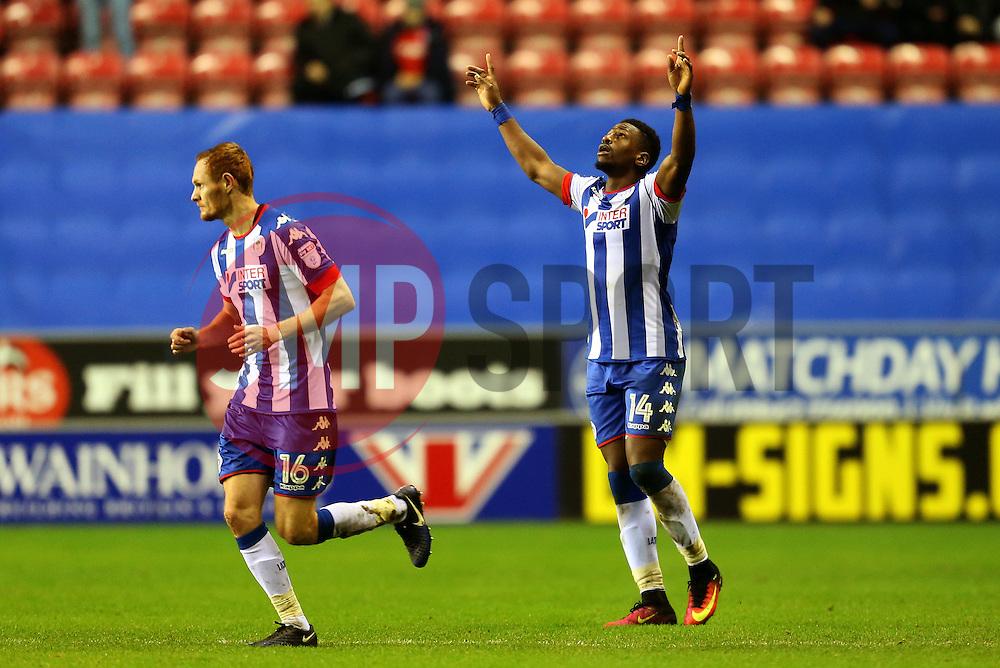 Omar Bogle of Wigan Athletic celebrates after scoring his sides second goal  - Mandatory by-line: Matt McNulty/JMP - 07/02/2017 - FOOTBALL - DW Stadium - Wigan, England - Wigan Athletic v Norwich City - Sky Bet Championship