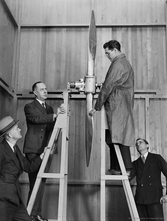 Testing a Propellor, De Havilland Aircraft Factory, England, 1935