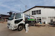 A tanker trunk collects milk from Minero Farm near Koriyama, Fukushima, Japan Sunday November 22nd 2015 The Minero Farm is run by the NPO, Fukushima Agricultural Revitalizing Network (FAR-Net) and was intially sponsored by Danone. It aims to revitalise dairy farming in Fukushima through educational and training programmes.
