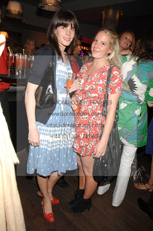 Left to right, LADY LAURA CATHCART and ALICE DAWSON at a party to celebrate the launch of the Boodles Wonderland jewellery collection held at the Haymarket Hotel, 1 Suffolk Place, London on 9th June 2008.<br /><br />NON EXCLUSIVE - WORLD RIGHTS