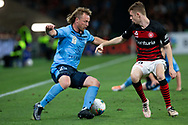 SYDNEY, AUSTRALIA - OCTOBER 26: Sydney FC defender Rhyan Grant (23) turns inside Western Sydney Wanderers defender Daniel Wilmering (29) during the round 3 A-League soccer match between Western Sydney Wanderers FC and Sydney FC on October 26, 2019 at Bankwest Stadium in Sydney, Australia. (Photo by Speed Media/Icon Sportswire)