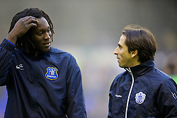 LIVERPOOL, ENGLAND - Saturday, January 4, 2014: Chelsea's on-loan players Everton's Romelu Lukaku and Queens Park Rangers' Yossi Benayoun before the FA Cup 3rd Round match at Goodison Park. (Pic by David Rawcliffe/Propaganda)