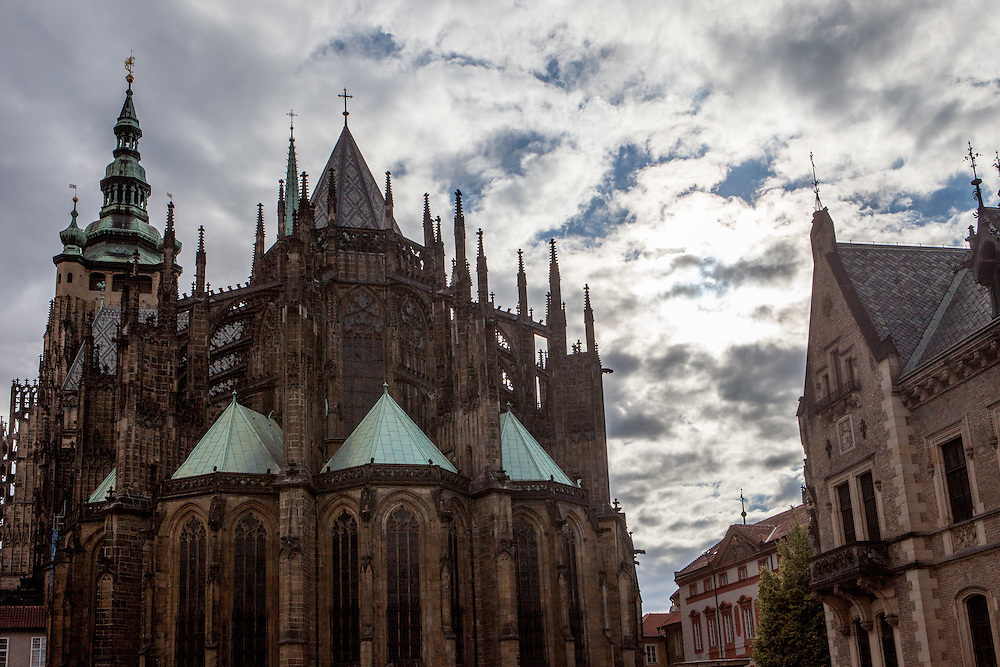 St. Vitus Cathedrale located at Prague Castle seen from the back side.