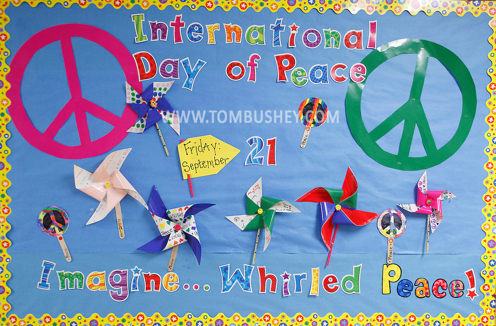 Students from Hamilton Bicentennial Elementary School in Cuddebackville took part in the Pinwheels for Peace Project on Friday, Sept. 21, 2012.