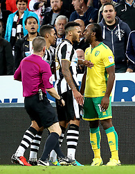 Jamaal Lascelles of Newcastle United and Cameron Jerome of Norwich City square up as tempers flair - Mandatory by-line: Robbie Stephenson/JMP - 28/09/2016 - FOOTBALL - St James Park - Newcastle upon Tyne, England - Newcastle United v Norwich City - Sky Bet Championship