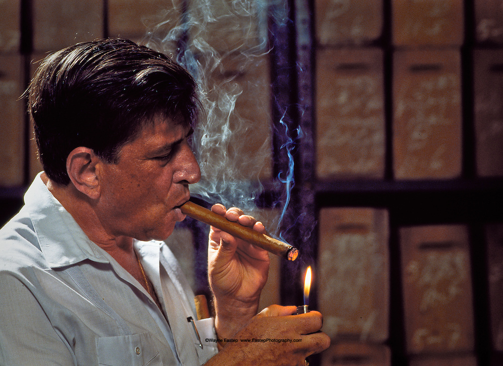 Master Cigar maker Benjamin Menendez in aging room for Partagas and Macanudo, Dominican Republic