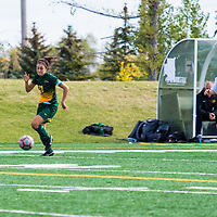 5th year midfielder Shayla Kapila (13) of the Regina Cougars in action during the Women's Soccer Home Game on September 24 at U of R Field. Credit Matt Johnson/©Arthur Images 2017