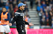 Huddersfield Town's Head Coach David Wagner can't believe a decision by Referee Roger East during the Premier League match between Huddersfield Town and West Bromwich Albion at the John Smiths Stadium, Huddersfield, England on 4 November 2017. Photo by Paul Thompson.