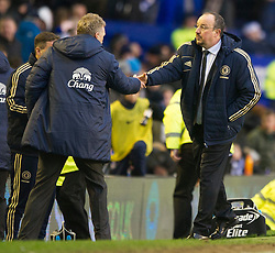 30.12.2012, Goodison Park, Liverpool, ENG, Premier League, FC Everton vs FC Chelsea, 20. Runde, im Bild Everton's manager David Moyes and Chelsea's manager Rafael Benitez shake hands after Chelsea's 2-1 victory in the Premiership match at Goodison Park. during the English Premier League 20th round match between Everton FC and Chelsea FC at the Goodison Park, Liverpool, Great Britain on 2012/12/30. EXPA Pictures © 2012, PhotoCredit: EXPA/ Propagandaphoto/ Chris Brunskill..***** ATTENTION - OUT OF ENG, GBR, UK *****