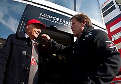 23.07.2011, Nuerburgring, Adenau, GER, F1, Grosser Preis von Deutschland, Nürburgring, drittes freies Training , im Bild Niki Lauda, ehemaliger Formel 1 Fahrer und Weltmeister und Norbert Haug (GER), Teamchef Mercedes GP Petronas F1 Team // during Practice 3 at Formula One Championships 2011 German Grand Prix held at the Nuerburgring, Adenau, Germany, 23/7/2011, EXPA Pictures © 2011, PhotoCredit: EXPA/ J. Groder
