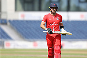 Lancashires Liam Livingstone (Capt) caught out during the Vitality T20 Blast North Group match between Lancashire Lightning and Derbyshire Falcons at the Emirates, Old Trafford, Manchester, United Kingdom on 14 July 2018. Picture by George Franks.