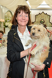 SOPHIA BEDDOW and her dog Doris at a party hosted by Lulu Guinness and Daphne's to launch Lulu's Designer Dog Bowl and to mark Daphne's allowing dogs through it's doors, held at Daphne's, Draycott Avenue, London on 28th June 2016.