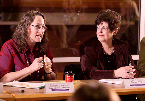 Bethany Schumacher of Konicki Schumacher (left) and Ginny Riechman of Mary Kay during the Women in Business Networking 'Hot Topics' Koffee Talk at the Dorothy Lane Market in Springboro, Friday, March 4, 2011.