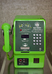 Green public coin operated telephone in Japan 2008