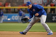 Aug 12, 2017; Phoenix, AZ, USA; Chicago Cubs infielder Anthony Rizzo (44) fields ground ball during batting practice for the MLB game against the Arizona Diamondbacks at Chase Field. Mandatory Credit: Jennifer Stewart-USA TODAY Sports