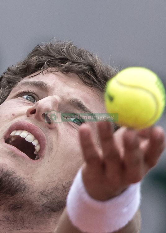 June 2, 2017 - Paris, France - Pablo Carreno Busta of Spain serves against Grigor Dimitrov of Bulgaria during the third round at Roland Garros Grand Slam Tournament - Day 6 on June 2, 2017 in Paris, France. (Credit Image: © Robert Szaniszlo/NurPhoto via ZUMA Press)