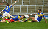 Ash Handley (C) of Leeds Rhinos scores the try against Salford Red Devils during the Betfred Super League match at Emerald Headingley Stadium, Leeds<br /> Picture by Stephen Gaunt/Focus Images Ltd +447904 833202<br /> 02/04/2018