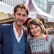 NLD/Amsterdam/20150530 - Amsterdamdiner 2015, Cornald Maas en Liliane Ploumen