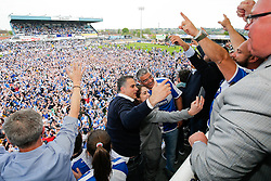Club President Wael Al Qadi and his family celebrate after Bristol Rovers win the match in injury time to secure 3rd place in League 2, back to back promotions and a place in Sky Bet League 1 for 2016/17 - Mandatory byline: Rogan Thomson/JMP - 08/03/2016 - FOOTBALL - Memorial Stadium - Bristol, England - Bristol Rovers v Dagenham & Redbridge - Sky Bet League 2.