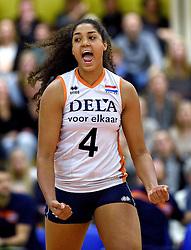 29-12-2015 NED: Nederland - Belgie, Almelo<br /> Op het 25 jaar Topvolleybal Almelo spelen Nederland en Belgie een oefen interland ter voorbereiding op het OKT dat maandag in Ankara begint. Nederland wint overtuigend met 3-0 / Celeste Plak #4