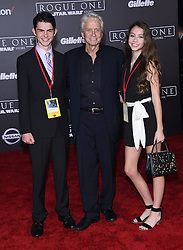 Celebrities arrive at the 'Rogue One: A Star Wars Story' movie premiere in Hollywood, California. 10 Dec 2016 Pictured: Michael Douglas, Dylan Douglas and Carys Douglas. Photo credit: American Foto Features / MEGA TheMegaAgency.com +1 888 505 6342
