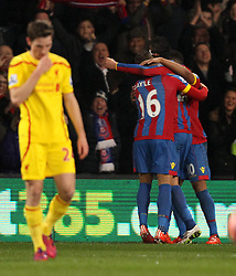 Crystal Palace's Dwight Gayle, Fraizer Campbell and Marouane Chamakh celebrate - Photo mandatory by-line: Robbie Stephenson/JMP - Mobile: 07966 386802 - 14/02/2015 - SPORT - Football - London - Selhurst Park - Crystal Palace v Liverpool - FA Cup - Fifth Round