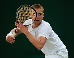 LONDON, ENGLAND - Saturday, June 28, 2014: Joshua Sapwell (GBR) during the Boys' Singles 1st Round match on day six of the Wimbledon Lawn Tennis Championships at the All England Lawn Tennis and Croquet Club. (Pic by David Rawcliffe/Propaganda)