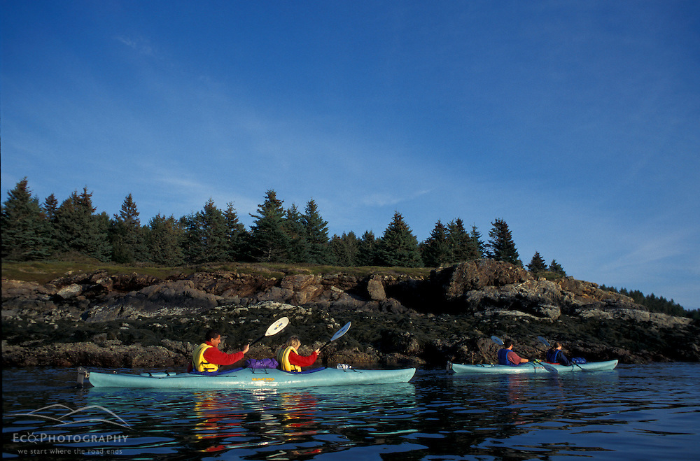 Kayaking Mt. Desert Narrows on the northern side of Mount Desert Island in Maine's Acadia National Park.