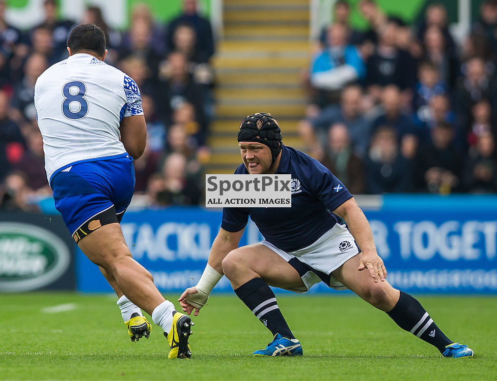 WP Nel tackles Alafoe Fa'ouivilla during the Rugby World Cup match between Scotland and Samoa (c) ROSS EAGLESHAM | Sportpix.co.uk