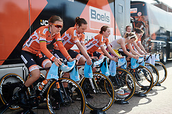 Boels Dolmans warm up for Healthy Ageing Tour 2018 - Stage 3b, a 16 km team time trial starting and finishing in Stadskanaal on April 6, 2018. Photo by Sean Robinson/Velofocus.com