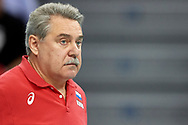 Poland, Krakow - 2017 September 03: Trainer coach Sergey Shlyapnikov from Russia looks forward while final match between Germany and Russia  during Lotto Eurovolleyball Poland 2017 - European Championships in volleyball at Tauron Arena on September 03, 2017 in Krakow, Poland.<br /> <br /> Mandatory credit:<br /> Photo by © Adam Nurkiewicz<br /> <br /> Adam Nurkiewicz declares that he has no rights to the image of people at the photographs of his authorship.<br /> <br /> Picture also available in RAW (NEF) or TIFF format on special request.<br /> <br /> Any editorial, commercial or promotional use requires written permission from the author of image.