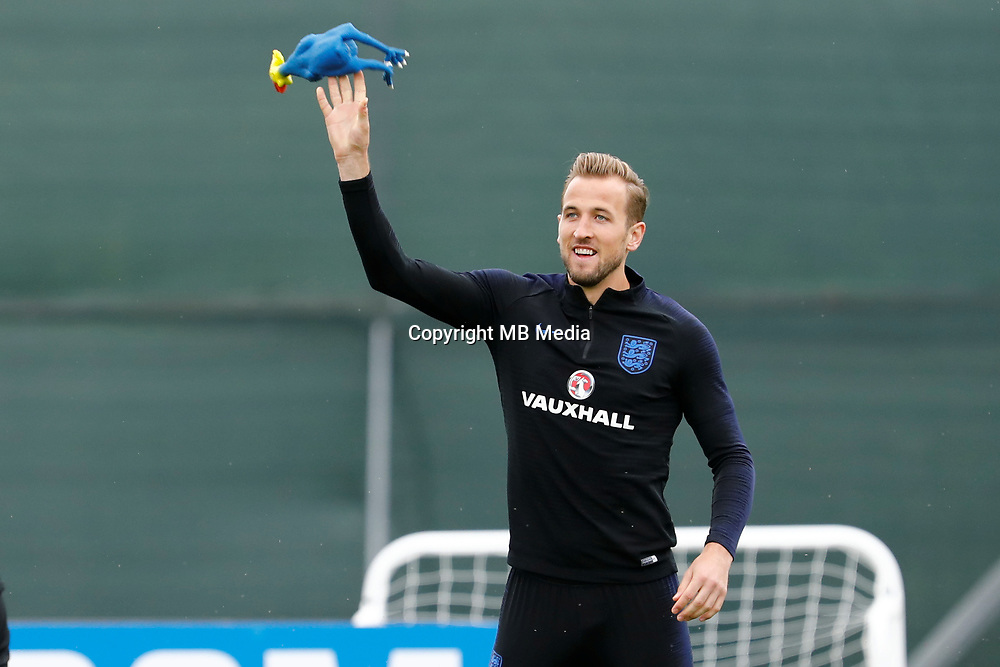 SAINT PETERSBURG, RUSSIA - JULY 10: Harry Kane of England national team plays with toy rooster during an Englang national team training session ahead of the 2018 FIFA World Cup Russia Semi Final match against Croatia at Stadium Spartak Zelenogorsk on July 10, 2018 in Saint Petersburg, Russia. (MB Media)