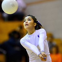 110314  Adron Gardner/Independent<br /> <br /> Miyamura Patriot Valynn Nez (1) sights a Gallup Bengal serve return at Gallup High School Monday.