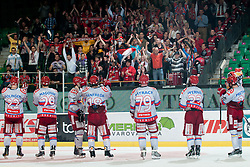 Team HK Acroni Jesenice celebrating victory during ice-hockey match between HDD Tilia Olimpija and HK Acroni Jesenice in second game of Final at Slovenian National League, on April 3, 2011 at Hala Tivoli, Ljubljana, Slovenia. (Photo By Matic Klansek Velej / Sportida.com)