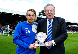 Stuart Sinclair of Bristol Rovers receives his Football League Unsung Hero Award from Bristol Rovers chairman Steve Hamer - Photo mandatory by-line: Robbie Stephenson/JMP - 16/04/2016 - BASKETBALL - SGS Wise Arena - Bristol, England - Bristol Flyers v London Lions - British Basketball League