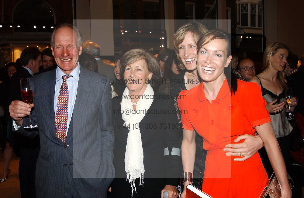 Left to right, CHARLES & PATTI PALMER-TOMKINSON and their daughters SANTA SEBAG-MONTEFIORE and TARA PALMER-TOMKINSON at a party to celebrate the publication of 'Last Voyage of The Valentina' by Santa Montefiore at Asprey, 169 New Bond Street, London W1 on 12th April 2005.<br /><br />NON EXCLUSIVE - WORLD RIGHTS