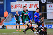 Josh Lillis saves Aaron Amadi-Holloway shot during the Sky Bet League 1 match between Oldham Athletic and Rochdale at Boundary Park, Oldham, England on 19 March 2016. Photo by Daniel Youngs.