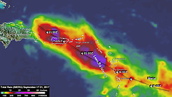 September 21, 2017 - Atlantic Ocean - From Sept. 17 to early Sept. 21, 2017 NASA's IMERG estimated that rainfall totals greater than 10 inches (254 mm) were common along Maria's track. IMERG rainfall estimates indicated that more than 20 inches (512 mm) of rain fell over a large part of Puerto Rico. During that period Maria dropped heavy rain in the Leeward Islands, Virgin Islands and Puerto Rico. (Credit Image: © NOAA/NASA /ZUMA Wire/ZUMAPRESS.com)