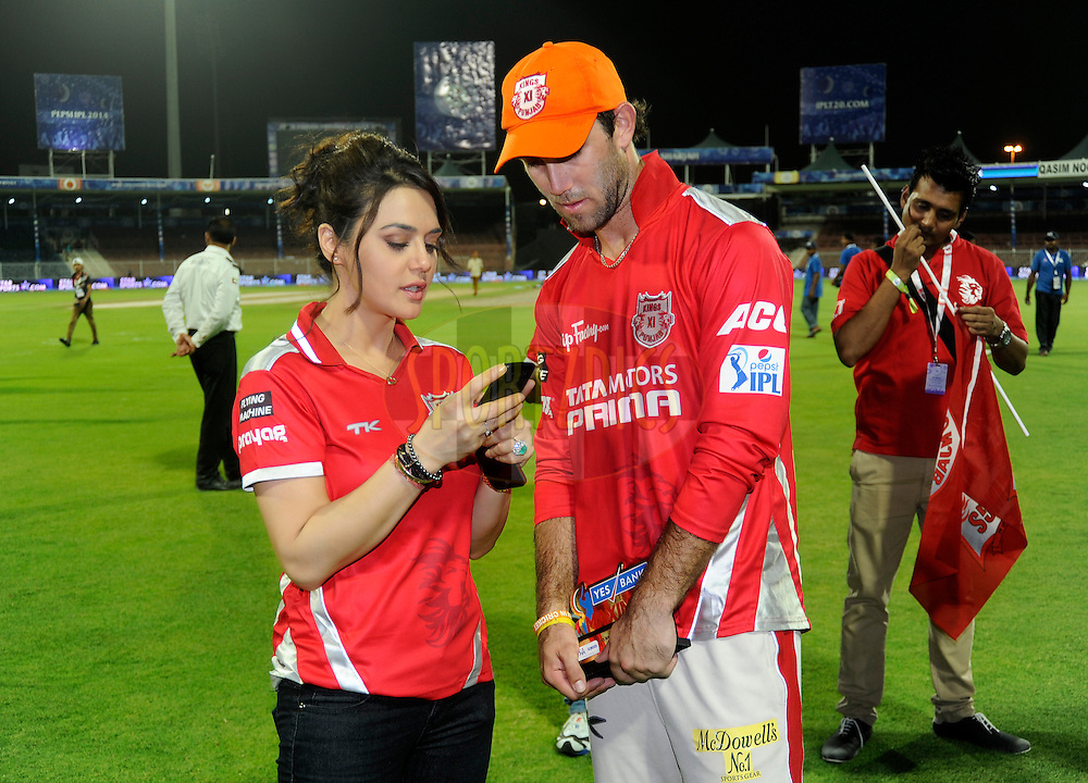 Glenn Maxwell of the Kings X1 Punjab with Preity Zinta co-owner of the Kings X1 Punjabaward during the presentation after match 9 of the Pepsi Indian Premier League 2014 between the The Kings XI Punjab and the Sunrisers Hyderabad held at the Sharjah Cricket Stadium, Sharjah, United Arab Emirates on the 22nd April 2014<br /> <br /> Photo by Pal Pillai / IPL / SPORTZPICS