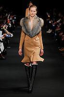 Laura Julie (NEXT) walks the runway wearing Altuzarra Fall 2015 during Mercedes-Benz Fashion Week in New York on February 14, 2015
