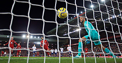 LIVERPOOL, ENGLAND - Sunday, October 27, 2019: Liverpool's Mohamed Salah (C) celebrates with team-mate captain Jordan Henderson (L) after scoring the winning second goal from a penalty kick past Tottenham Hotspur's goalkeeper Paulo Gazzaniga during the FA Premier League match between Liverpool FC and Tottenham Hotspur FC at Anfield. Liverpool won 2-1. (Pic by David Rawcliffe/Propaganda)